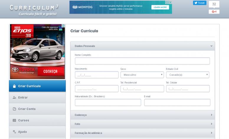 Curriculum 3.1 Versão Web